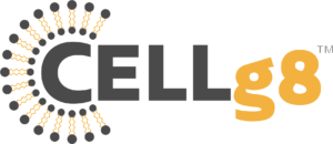 Cellg8 logo with grey CELL and yellow lowercase g and 8, trademarked